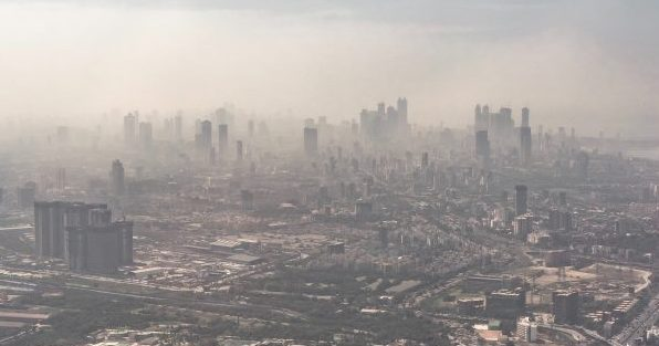 City pollution smog
